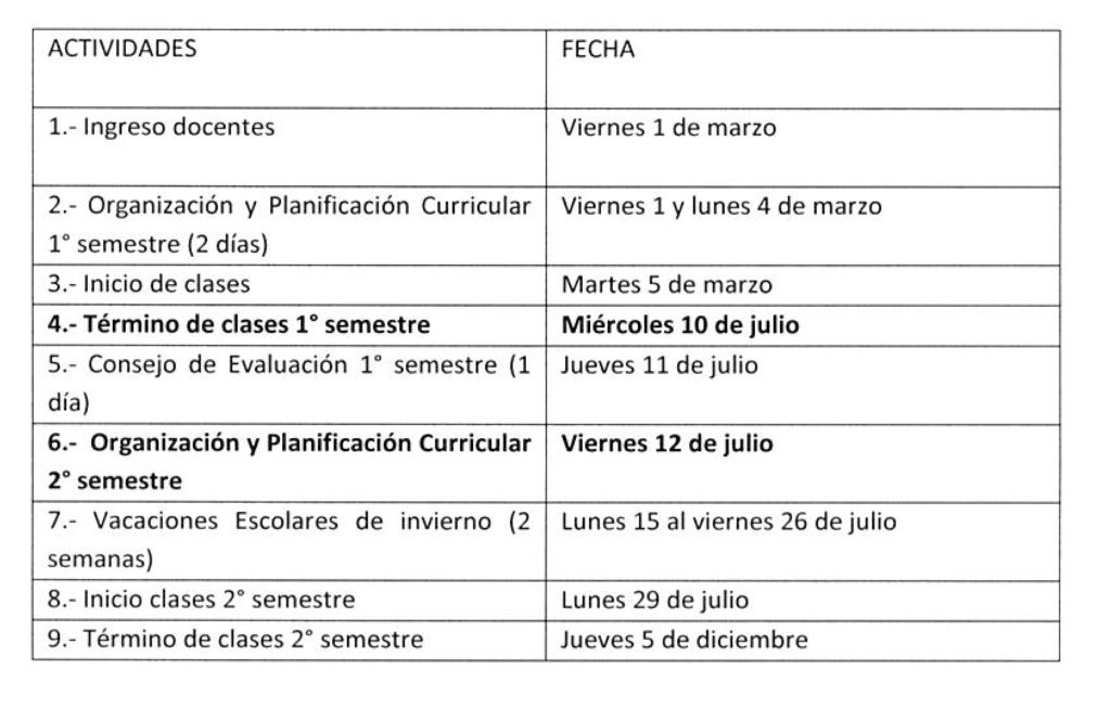 Calendario Con Semanas 2019 Chile.Calendario Escolar 2019 Colegio Polivalente